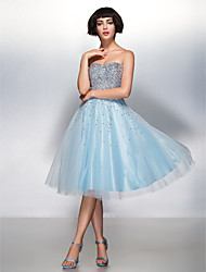 TS Couture Cocktail Party Prom Dress - Sparkle & Shine A-line Sweetheart Knee-length Organza Tulle with Sequins