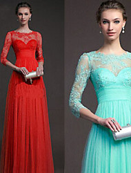 Women's Lace Red/Green Dresses , Vintage/Lace/Party Round ¾ Sleeve