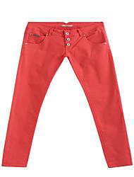 Women's Red Long Basic Casual Pants