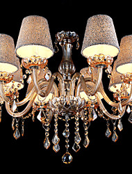 Amber Crystal Chandeliers with 8  Lights