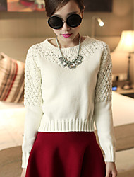 Women's Solid Red / White Pullover , Casual / Cute Long Sleeve