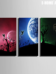 E-HOME® Stretched Canvas Art Elves Under The Moon Decoration Painting Set of 3