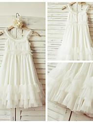 Sheath/Column Knee-length Flower Girl Dress - Tulle Sleeveless
