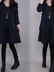 Large size   Women's Character Green Dresses , Casual Round Long Sleeve