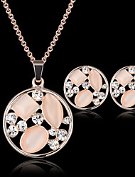 Lucky Doll Women's Vintage Crystal Rose Gold Plated Zirconia Cut Out Necklace & Earrings Jewelry Sets