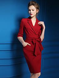 Women's Solid Red  Black Dress  Vintage  Work Deep V  Sleeve