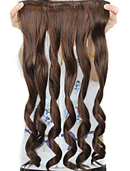 24 Inch Long Brown Curly 5 Clips In Fake Hair Extensions Heat Resistant Synthetic