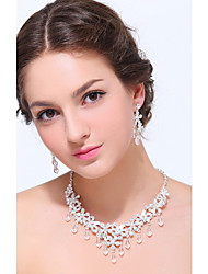 Women's Silver Alloy Crystal Rhinestone Cubic Zirconia Jewelry Set