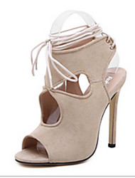 Women's Shoes Suede Stiletto Heel Open Toe Sandals Casual Black / White