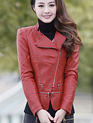 Women PU Leather jacket Korean Slim  Outerwear / Top