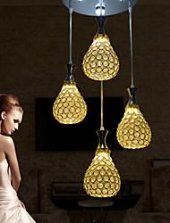 4 Heads Pendant Lights Crystal/LED Modern/Contemporary Living Room/Bedroom/Dining Room/Kitchen Metal