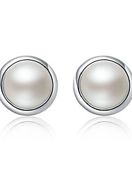 2016 Korean Women 925 Silver Sterling Silver Jewelry Imitation Pearl Earrings Stud Earrings 1Pair
