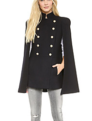 Women's Solid Black Coat , Party / Work Long Sleeve Cotton