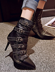 Women's Shoes Leather Stiletto Heel Fashion Boots / Motorcycle Boots Boots Casual Black