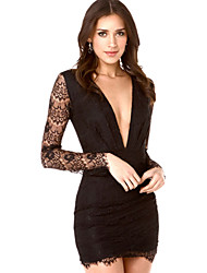 Women's Party/Cocktail Sexy Bodycon Dress,Solid Deep V Mini Long Sleeve White / Black Cotton Fall