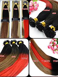 100pcs 12-26 Inch Brazilian Human Virgin Hair Ombre Dip Dye U Tip Hair Extensions Two Tone Nail Tip Hair Extensions 001