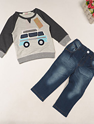 Boy's All Seasons Inelastic Medium Long Sleeve Jeans/Clothing Set (Cotton Blend)