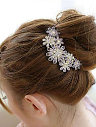 South Korea High-Grade Ornaments in Combs Hair Clasp Diamond Pearl Twist Purple Flower