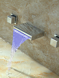 Color Changing Water Tap LED Waterfall Widespread Bathroom Basin Sink Two Handle Mixer Tap Bathtub Chrome Finish