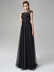 Formal Evening Dress - Black A-line Jewel Floor-length Satin