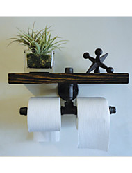 Industrial Urban Style Galvanised Steel Pipe Reclaimed Wood Toilet Roll Holder Bathroom Towel Rrack, Ttoilet Paper-Z31