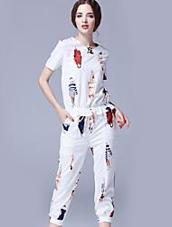 Set Aux femmes,Imprimé Décontracté / Quotidien simple Eté Manches Longues Col Arrondi Blanc / Noir Polyester Opaque