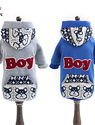 Coats / Hoodies for Dogs / Cats Blue / Gray Winter Wedding / Cosplay S / M / L / XL / XXL Cotton