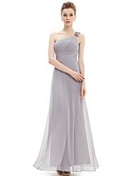 palabra de longitud vestido de dama de gasa - plata una línea de un hombro