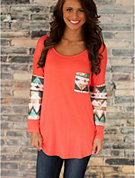 DUIQI Women's Patchwork Blue / Pink / White / Orange Tops & Blouses , Vintage / Sexy / Bodycon / Work Round Long Sleeve