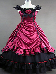 Steampunk®Red Satin Medieval Dress Gown Long Party Dress Halloween Costume