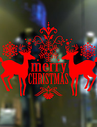 Wall Stickers Wall Decals Style Merry Christmas Deer PVC Window stickers