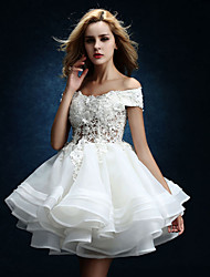 A-line Wedding Dress - White Knee-length Off-the-shoulder Tulle