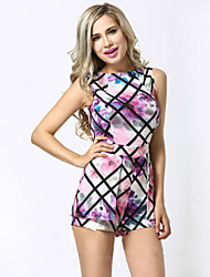 Women's Print Multi-color Jumpsuits , Print Round Neck Sleeveless