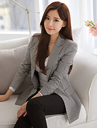 Women's Solid Color Black Coats & Jackets , Casual V-Neck Long Sleeve