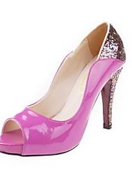 Women's Shoes Patent Leather / Glitter Spring / Summer / Fall Heels / Peep Toe / Platform Dress Stiletto Heel Sequin Black / Purple / Gold