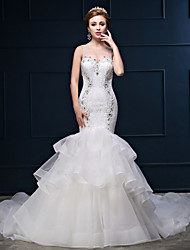 Trumpet / Mermaid Wedding Dress Vintage Inspired Chapel Train Scoop Lace Tulle Charmeuse with Beading Lace Ruffle
