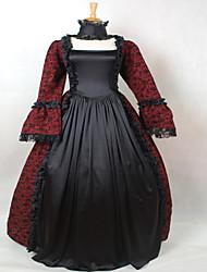 rojo y negro vestido de época gótica victoriana vino cosplay ropa vestido de baile teatro recreación
