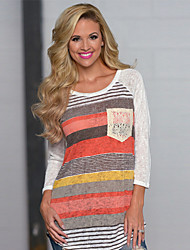 SEXY Women's Striped Blue / Red T-Shirts , Vintage / Sexy / Casual Round Long Sleeve