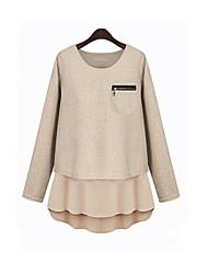 여성의 포켓 / 지퍼 / 레이어드 라운드 넥 긴 소매 티셔츠 면