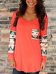 Damen Solide / Patchwork Einfach / Street Schick Lässig/Alltäglich T-shirt,Rundhalsausschnitt Herbst Langarm Blau / Rosa / Weiß / Orange