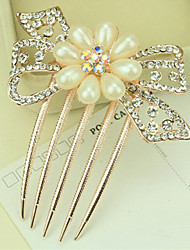 South Korea High-Grade Ornaments in Combs Hair Clasp Diamond Pearl Twist  The  Flower Bow