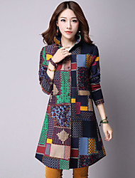 Women's Casual Thin Print Cotton Trench Coat