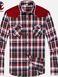 U&Shark New Hot! Men's 100% Cotton Sanded Soft Business Long Sleeve Shirt with Stitching Red-Blue-Black Checks/YZMM04