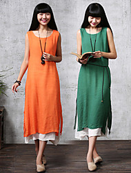 Large size   Women's Color Block Green Dresses , Casual Round Sleeveless
