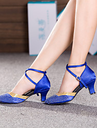 Non Customizable Women's Dance Shoes Modern Satin / Sparkling Glitter Cuban Heel Blue / Brown