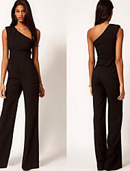 family  Women's Solid Color Black Jumpsuit , Sexy / Party One Shoulder Sleeveless