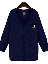 Women's Print Blue / Gray Cardigan , Casual / Plus Sizes Long Sleeve