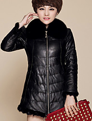 Women's Plus Size/ Party/Cocktail Sexy / Simple Fur Coat,Solid / Color Block Shawl Lapel Long Sleeve Fall /