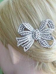 Wedding Headpiece Bridal Hair Accessory Silver-tone Clear Rhinestone Crystal Bowknot Hair Comb Wedding Hair Comb