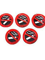 5 Pcs Soft Plastic No Smoking Sign Wall Window Car Sticker Decal